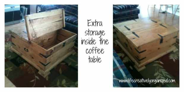 Here are some beautiful ways to add more storage in your home using re-purposed items, like coffee table storage.