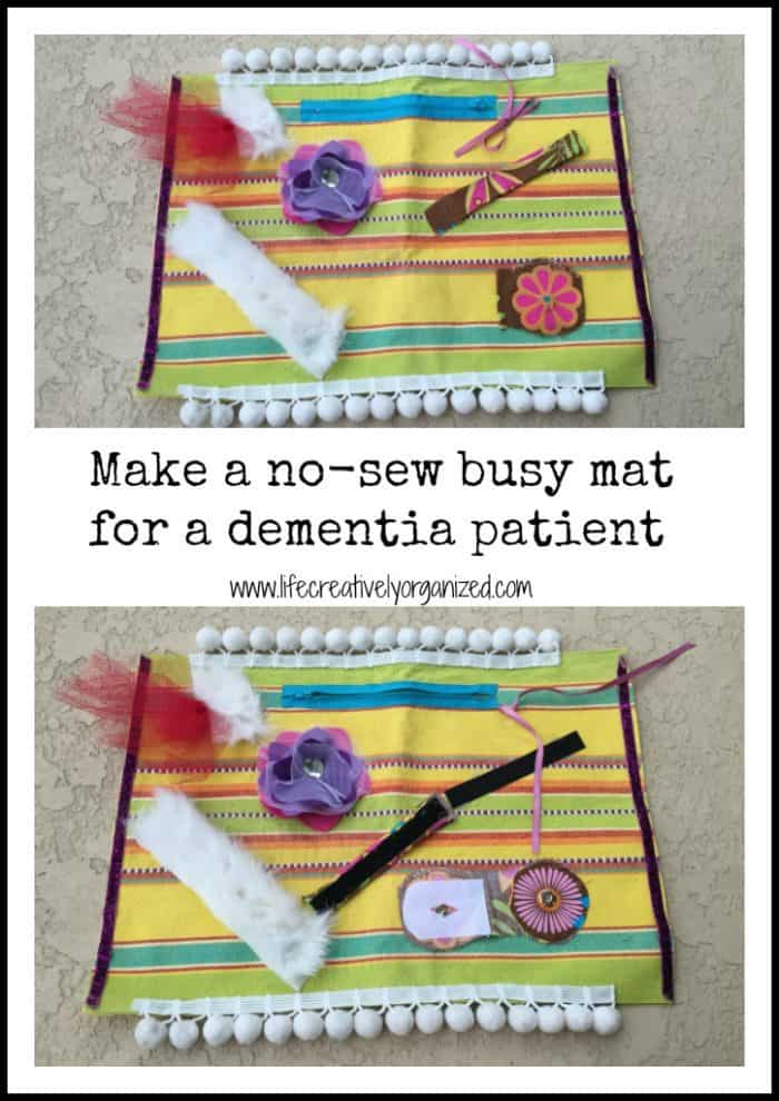 Dementia and Alzheimer patients can show quirky new impulses as the disease progresses. I created an easy DIY dementia busy mat that helped my mother-in-law stay occupied