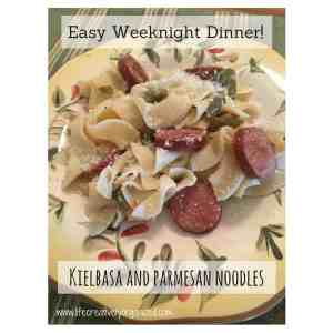 Easy weeknight dinner: Kielbasa and Parmesan noodles. Savory turkey kielbasa sauteed with peppers and onions and mixed with buttery, cheesy noodles! What's not to love?