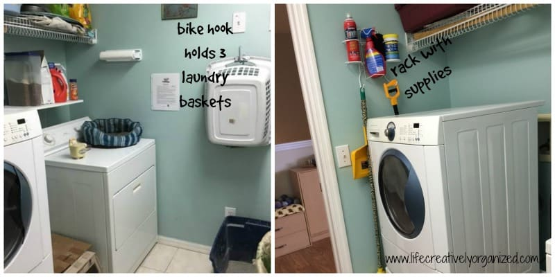 A bike hook and laundry rack for more storage