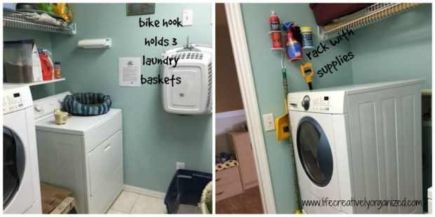7 ways to make your laundry room better! Use a bike hook and laundry rack for more storage.