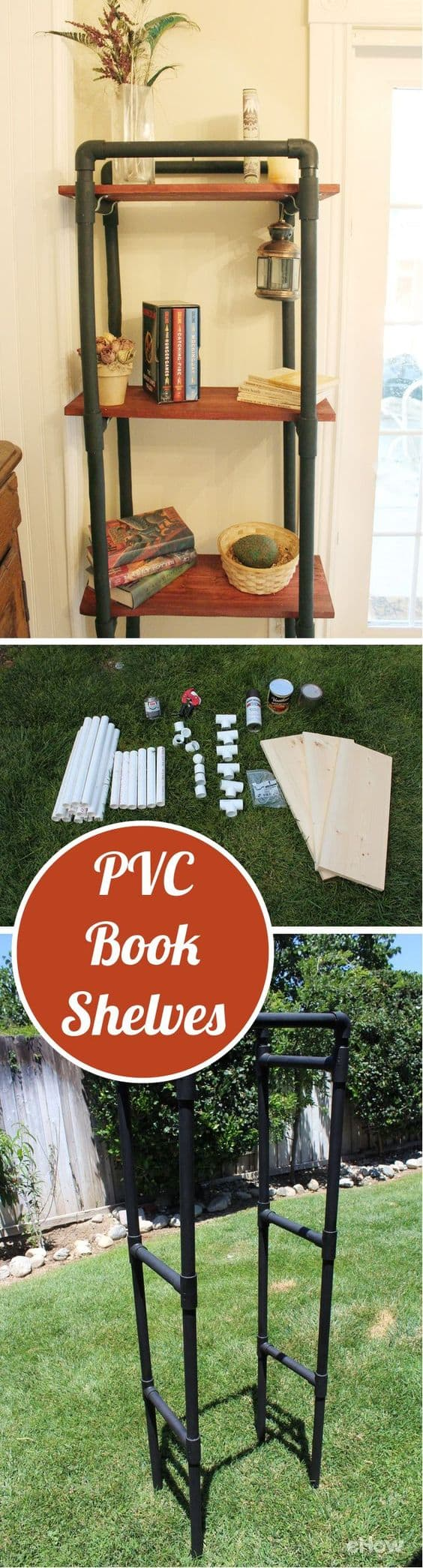8 great DIY bookcases. Make awesome industrial look book shelves out of PVC.