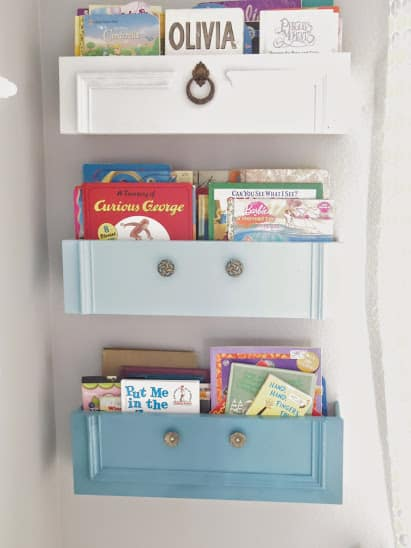 8 great DIY bookcases. Mount old dresser drawers on the wall for awesome new bookshelves!