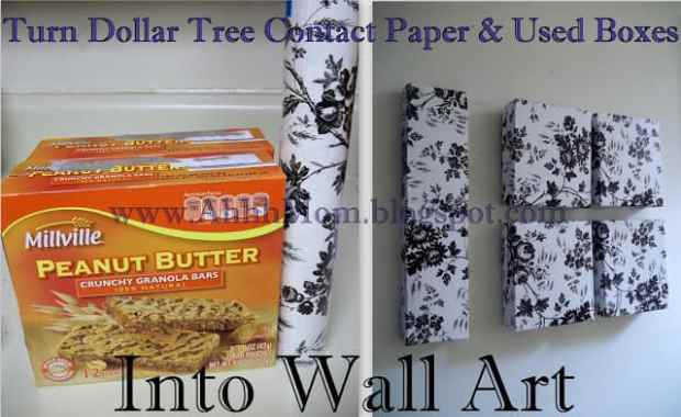Awesome ways to recycle cereal boxes. Wall art from cardboard boxes and contact paper! Gorgeous!