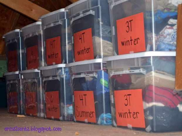 "Organize kids' clothes - store ""hand-me-up"" clothing in clear bins and label them by size for easy access."