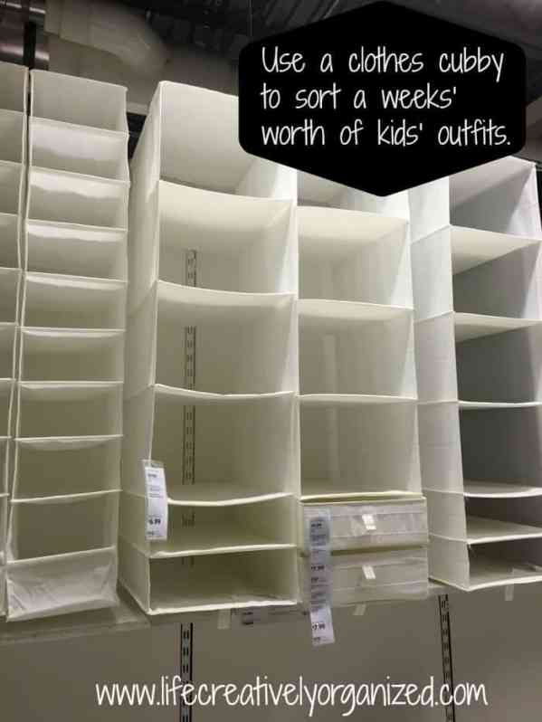 Here are 10 household hacks you need to know. Use a hanging clothes cubby to sort a weeks' worth of kids' outfits for less stress in the morning!