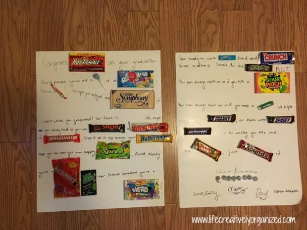 10 awesome graduation gift ideas - a graduation congratulations card spelled out using candy.