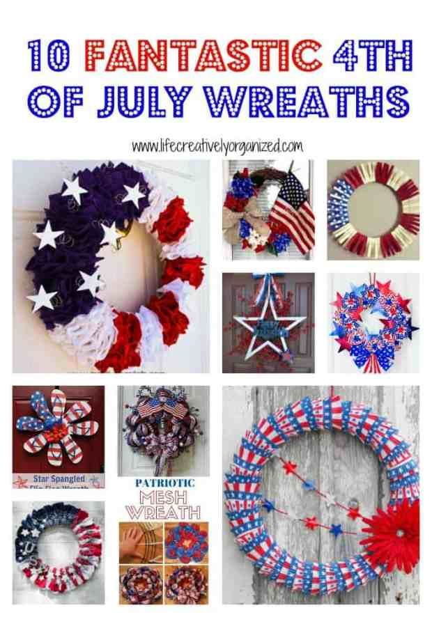 How to make these 10 fantastic 4th of July wreaths to brighten up your front door with patriotic spirit and show everyone how much the USA means to you.
