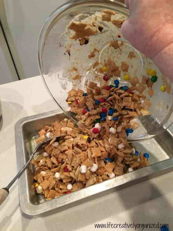 Scoop clingon mixture into pan. Make clingons - easy dessert.