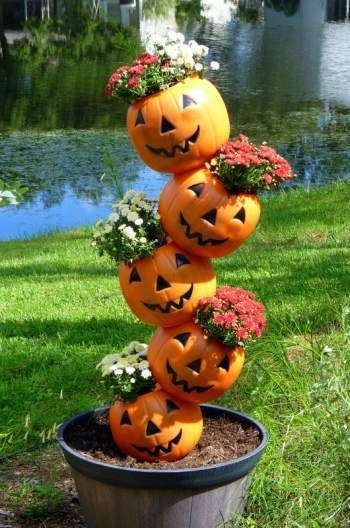 Outdoor decorating -Halloween planter