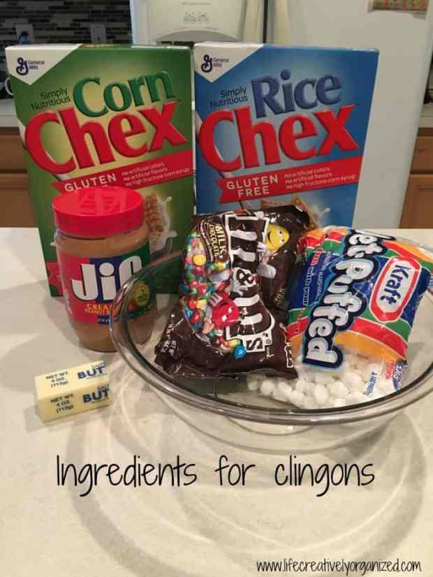 Not those kind of Klingons! A quick & easy cereal dessert called clingons you pull apart to eat. Made with Chex, marshmallows, peanut butter & M&M's. Yummy!