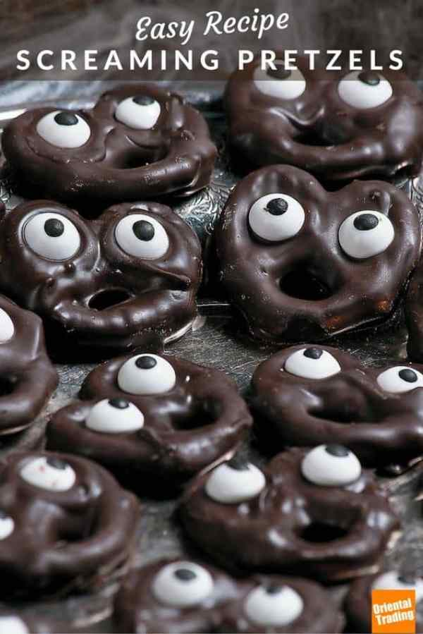10 fun school snacks kids will gobble up! Chocolate covered pretzels and candy eyes. Easy and fun! These would be great for Halloween, too.