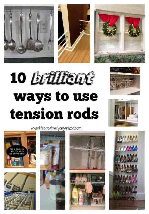 Here are 10 brilliant ways to use tension rods throughout the house. I love using tension rods because they are inexpensive, easy to install & so versatile!