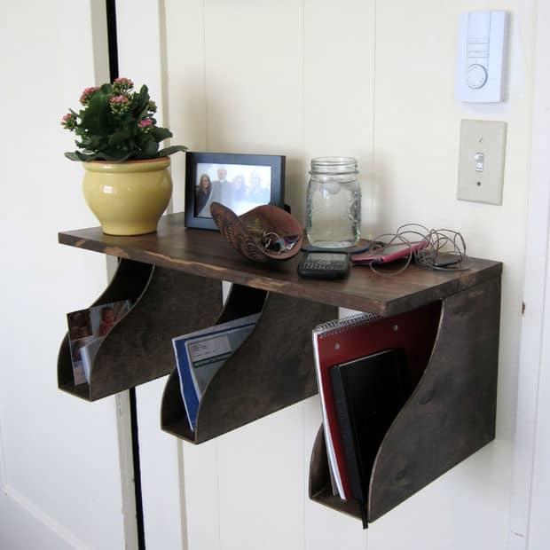 Entryway organization ideas - DIY magazine box shelf