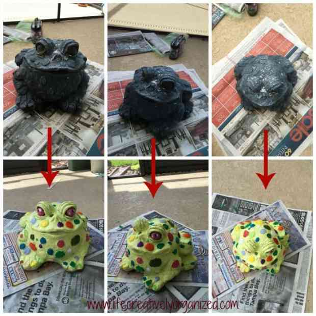 Mr. Toad before and after. Update old lawn ornaments with paint to give them a whole new look!