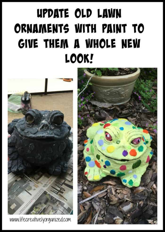 Update old lawn ornaments with paint to give them a whole new look! Let your imagination run wild & turn them into a whimsical new showpieces in your yard.