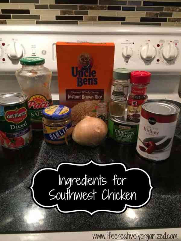Easy southwest chicken and rice is my go-to meal on a busy night. It is fast, delicious, with brown rice, chicken, tomatoes, Tex-Mex spices and cheese. Yum!