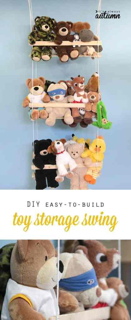 Stuffed toy storage DIY swing