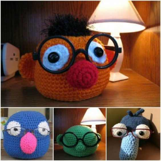 Here are some clever eyeglasses craft ideas -Crochet Muppet Eyeglass Holders