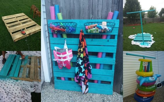 Awesome Pool Storage Ideas   Pallet Toy Holder With Baskets