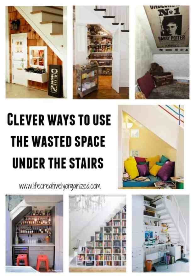 Need more storage? If you have a 2-story house, then you're in luck! Here are some clever ways to use that wasted space under the stairs. www.lifecreativelyorganized.com
