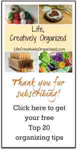 Click here to download your free PDF Top 20 organizing tips from www.lifecreativelyorganized.com