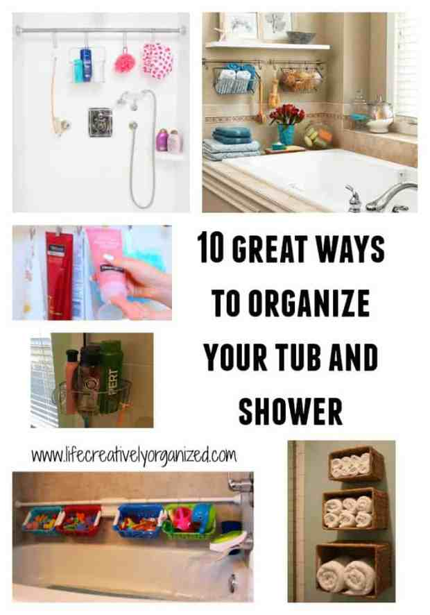 Is everything in your shower lined up all around the edge like some weird set of dominoes? Well, here are 10 great ideas to organize the tub and shower area. www.lifecreativelyorganized.com