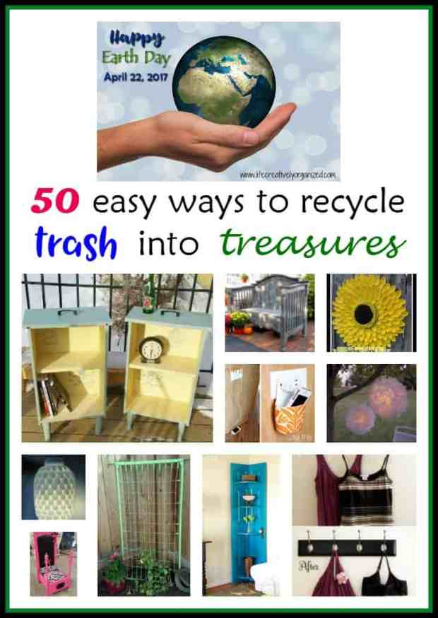 In honor of Earth Day, here are over 50 awesome ways to recycle and repurpose discards like plastics, old furniture, and more into great new stuff!