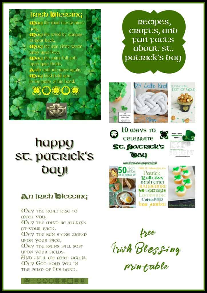 picture about Printable Irish Blessing named Delighted St. Patricks Working day - An Irish Blessing printable - Daily life