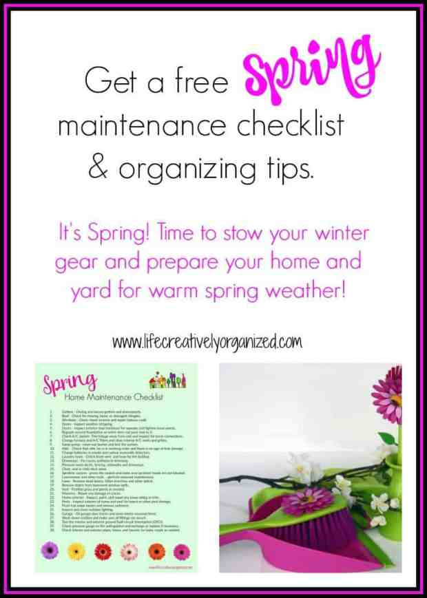 Get a free spring maintenance checklist & organizing tips. It's April! Time to stow your winter gear and prepare your home and yard for warm spring weather!