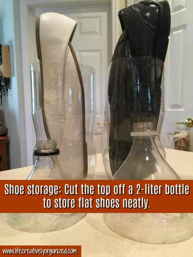 Do you wish you had a better way to store your flat shoes? Here's a super easy way to keep them organized and recycle, too! Soda bottle shoe storage!