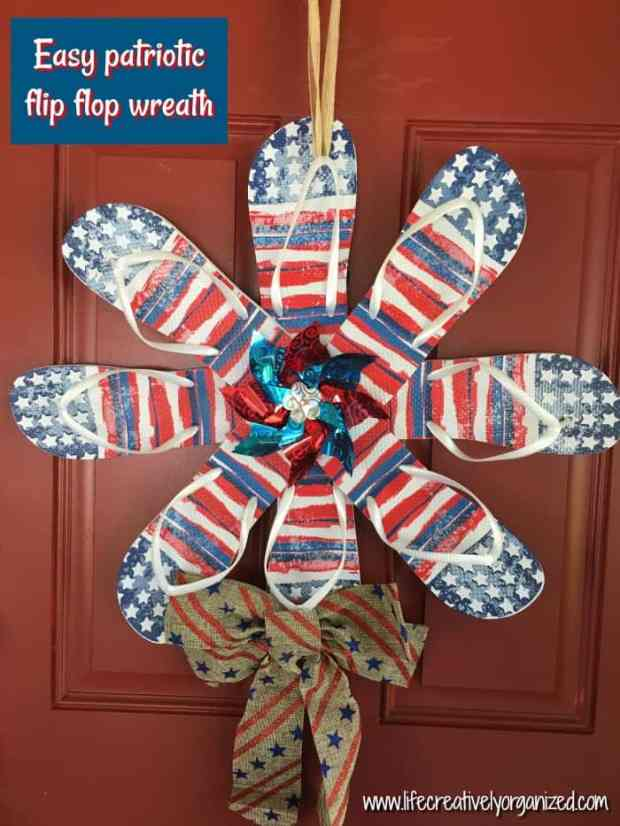In a patriotic mood, but want to spend more money on food for the cookout than on decorations? Well, make a cute, easy $6 DIY patriotic flip flop wreath!