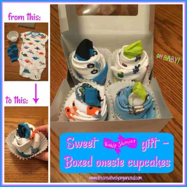 Looking for a sweet and unique baby shower gift? Grab 4 onesies and matching socks to make these cute onesie cupcakes any new mom will be sure to love!