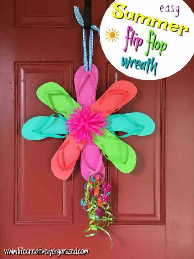 Ready to celebrate summer? This colorful flip flop wreath is made with summer-bright colors, comfy flip flops and takes just 15 minutes and $6 to make.