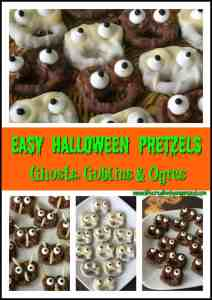 Looking for some scary good treats for your Halloween party? Make these super easy Halloween pretzels. 3 designs, 4 ingredients: ghosts, goblins, and ogres!