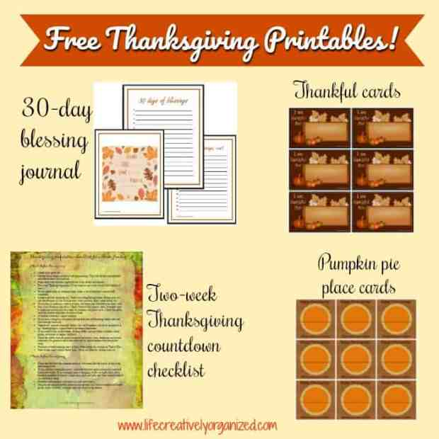 Download your FREE Thanksgiving printables here! A 30-day blessing journal, pumpkin pie place cards, thankful cards, and a 2-week countdown checklist to get everything ready for Turkey Day!