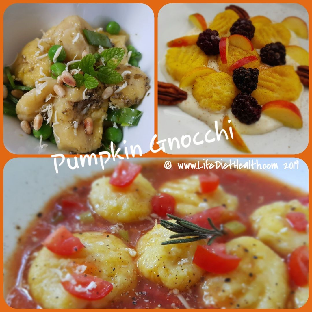 Three different pumpkin gnocchi in white bowls. Savoury and sweet versions.