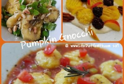 Three different pumpkin gnocchi in white bowls. Savoury and sweet versions.