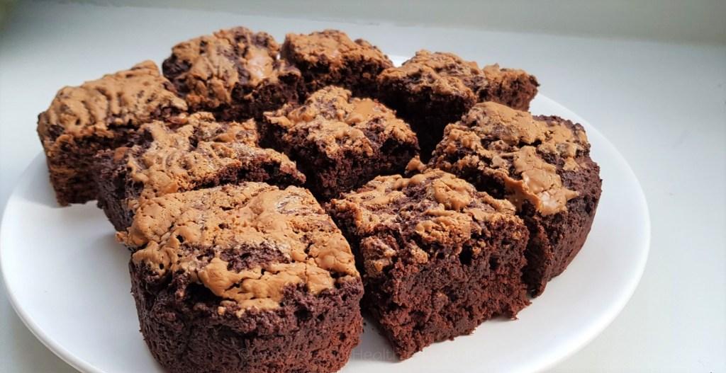 Plate of freshly baked biscoff brownie squares