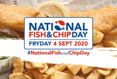 Fish and chip background with National fish and chip day logo over the top.
