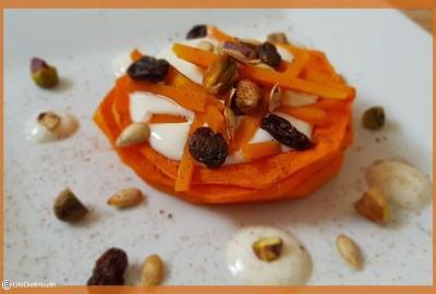 Pumpkin ring dessert with nuts,seeds and raisins