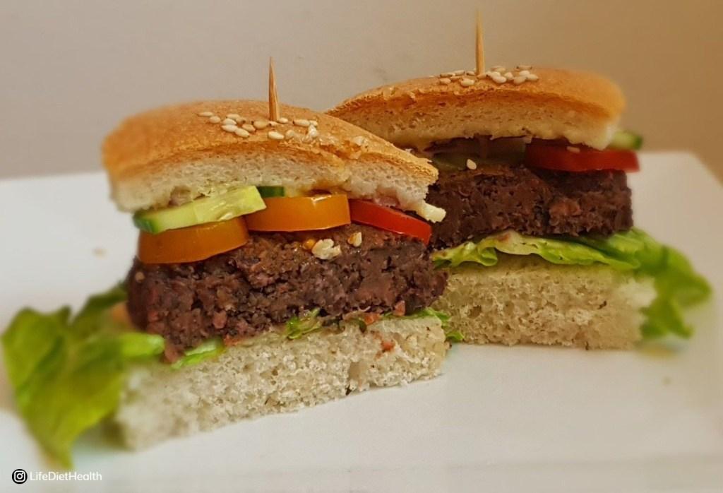 Beetroot burger in halves