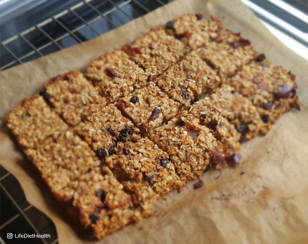 tray of baked flapjack cut into squares