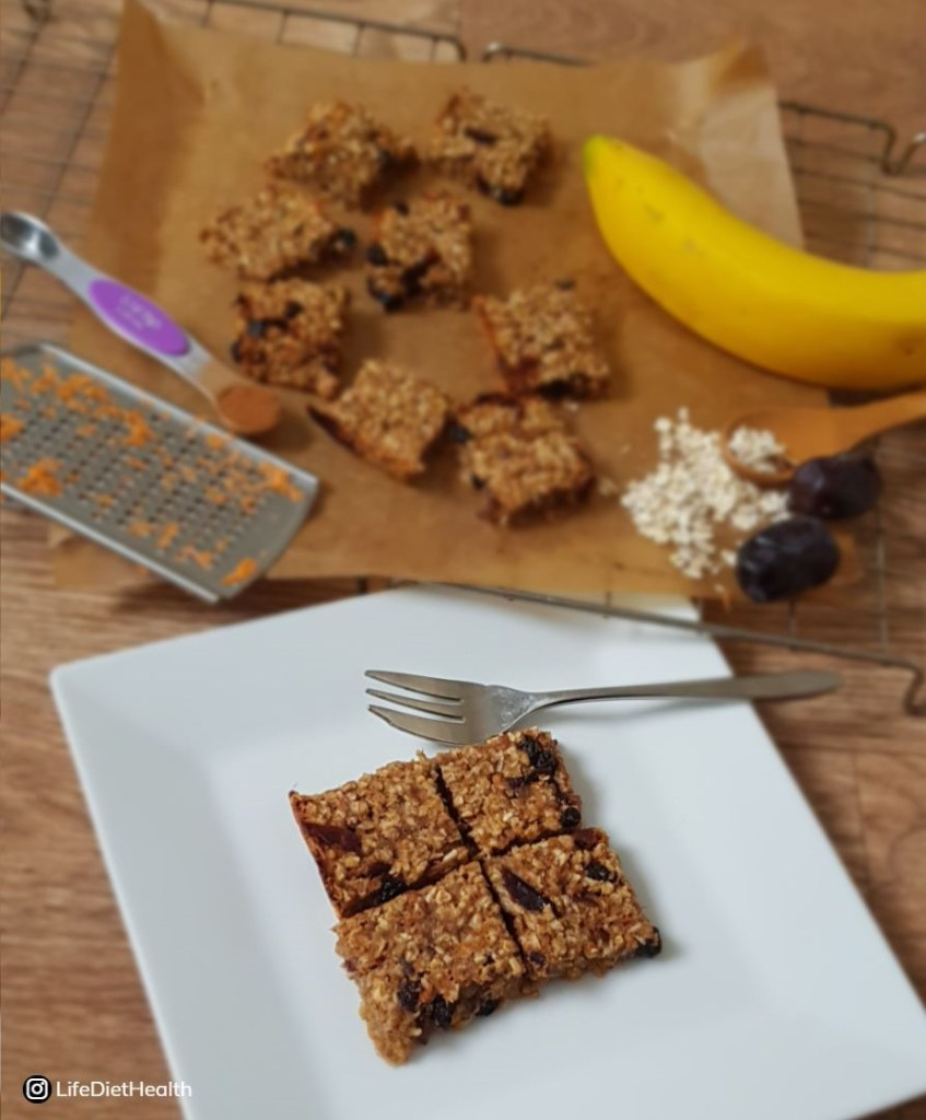 flapjack on a white plate with ingredients in background