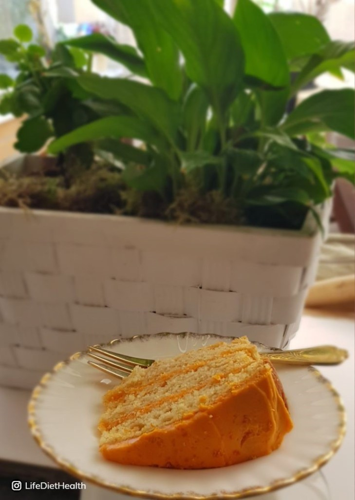 Orange layered cake with a plant in the background