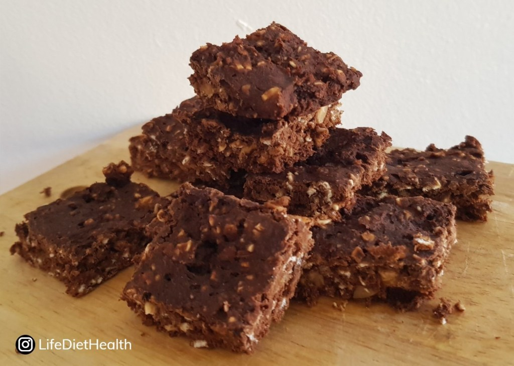 stack of protein brownies
