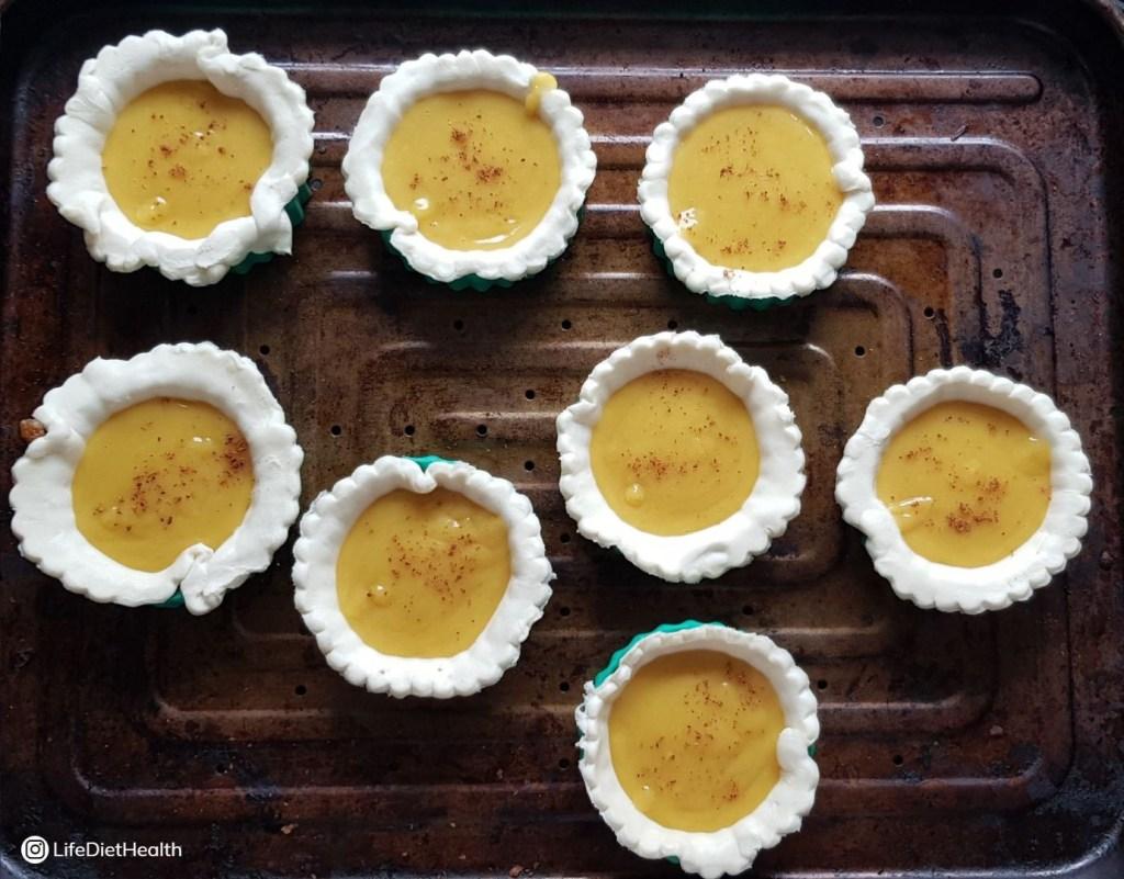 egg custard tarts pre baking