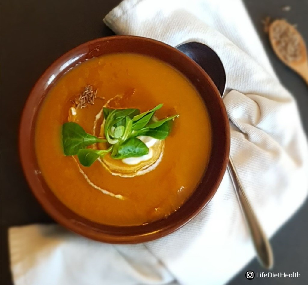 bowl of carrot & cumin soup