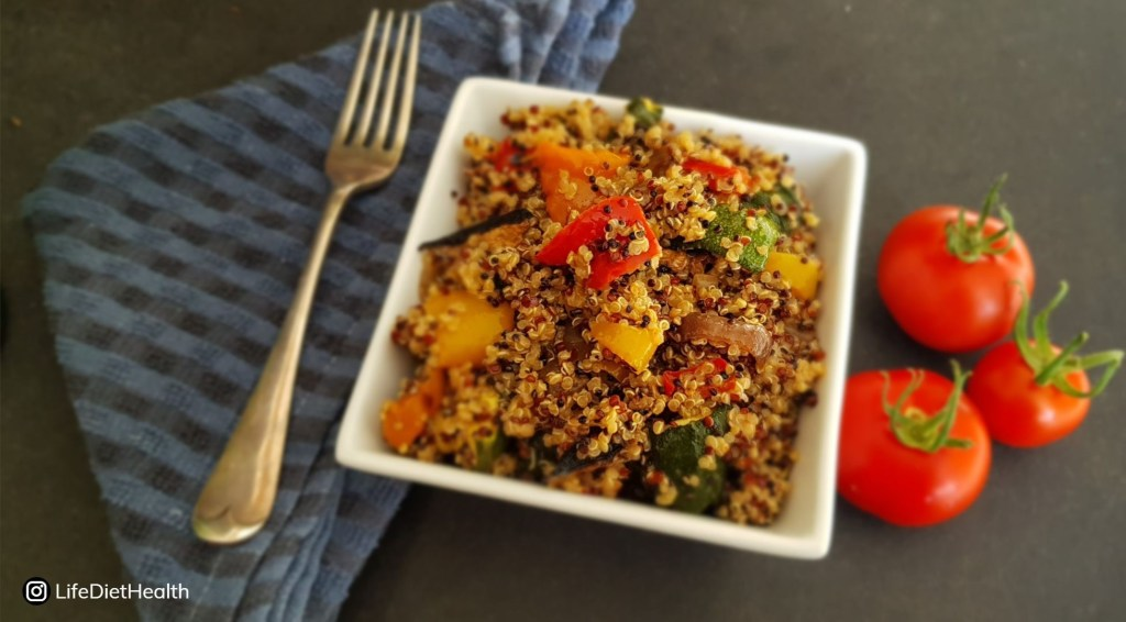quinoa bowl with fresh tomatoes