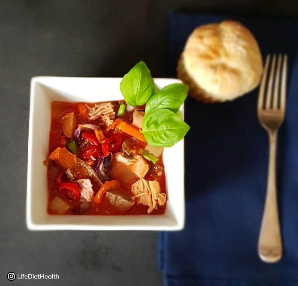tomato based vegan fish dish
